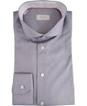 Eton Shirts Grey Slim Fit Formal Shirt