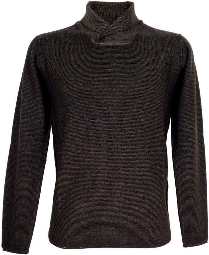 Armani Jeans Grey Slim Fit Shawl Collar Knit