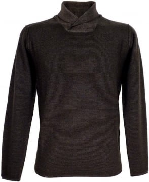 Armani Jeans Grey Slim Fit Shawl Collar Knit