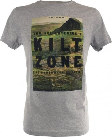 Hugo Boss Grey Slim Fit with Nature Motif On Chest 'Tommi 2' T/Shirt