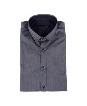 Grey Stripe Small Collar Shirt