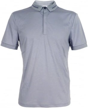 Armani Collezioni Grey Striped Collar Polo