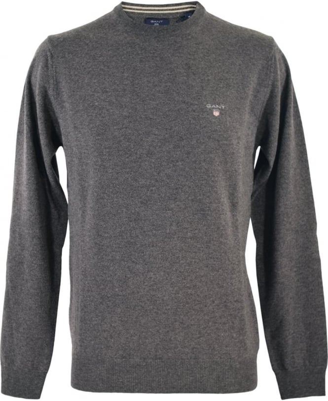 Gant Grey Super Fine Lambswool Knitwear Jumper