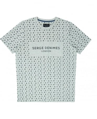 Serge DeNimes Grey Symbolic Crew Neck T-shirt