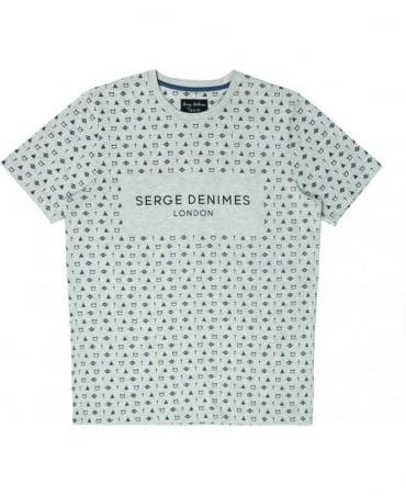 Serge DeNimes Grey Symbolic Crew Neck T-shirt