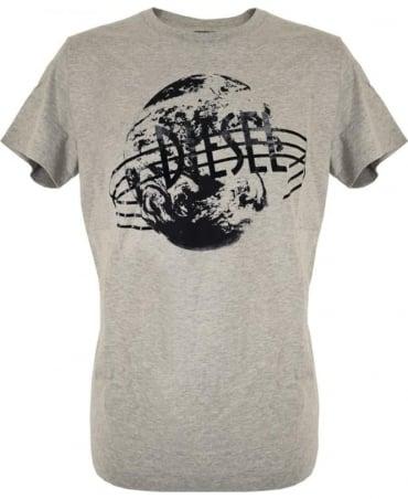 Diesel Grey T-Diego Planet & Brand Print T-Shirt