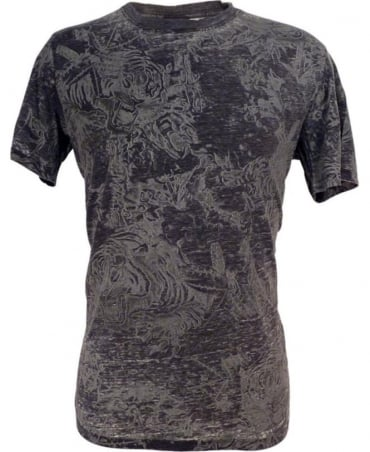Diesel Grey T-Joe Burnout Cotton T-shirt