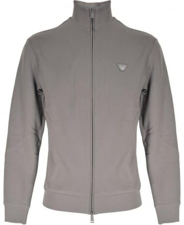 Armani Jeans Grey Textured Full Zip Sweatshirt