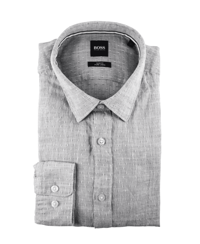 f3b3b5e9c Grey Textured 'Ronni' Slim Fit Pure Linen Shirt