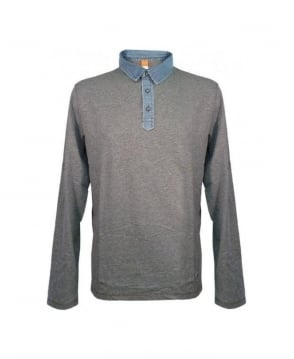Hugo Boss Grey Turn Up Sleeve Pollux Polo