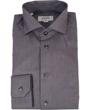 Eton Shirts Grey Twill Slim Fit Shirt
