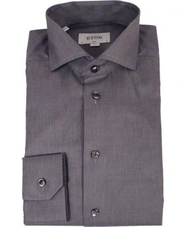 Eton Shirts Grey Twill Slim Fit Shirt