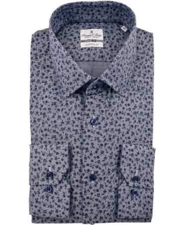 Emanuel Berg Grey Warsaw Navy Flower Print Shirt