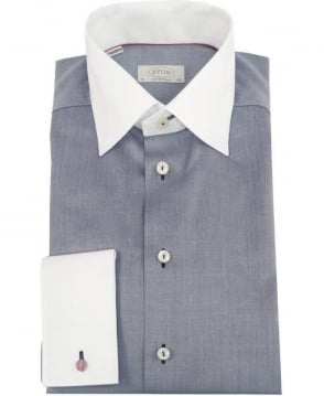 Eton Shirts Grey & White 301279459 Contemporary Fit Shirt