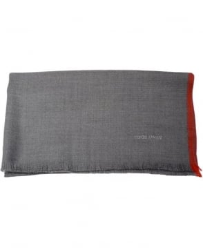 Armani Grey with Red Trim Scarf