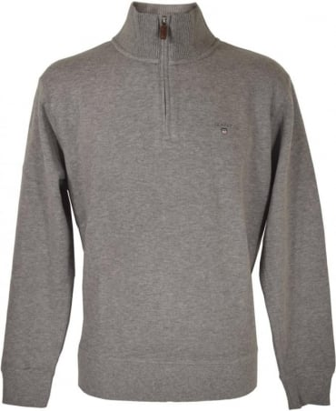 Gant Grey Zip Up Knitwear Sweatshirt