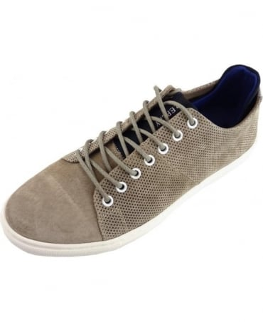 Replay Greybull Leather Trainers In Taupe