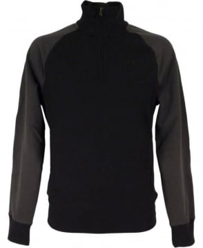 Armani Half Zip Jumper In Black