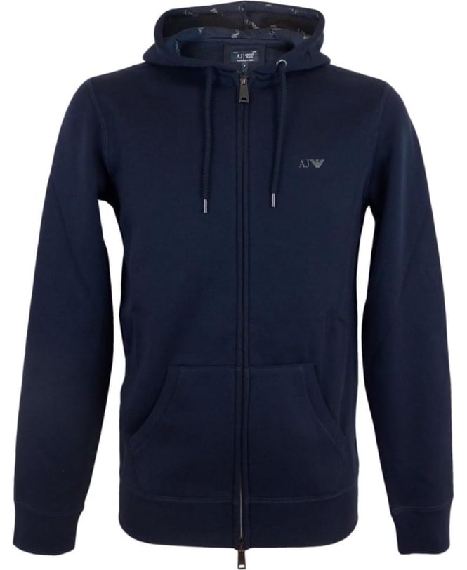Armani Jeans Hooded Fleeced Sweatshirt In Navy