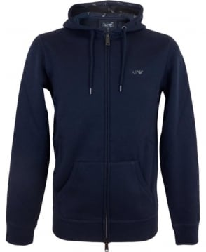Armani Jeans Hooded Fleeced Sweatshirt In Navy