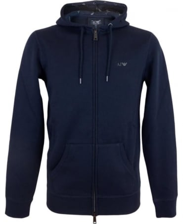 Armani Hooded Fleeced Sweatshirt In Navy
