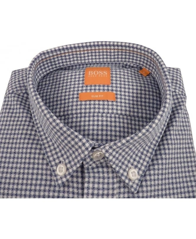 a9dc415a Boss 'EdipoE' Checked Slim Fit Shirt In Dark Blue - Shirts from ...
