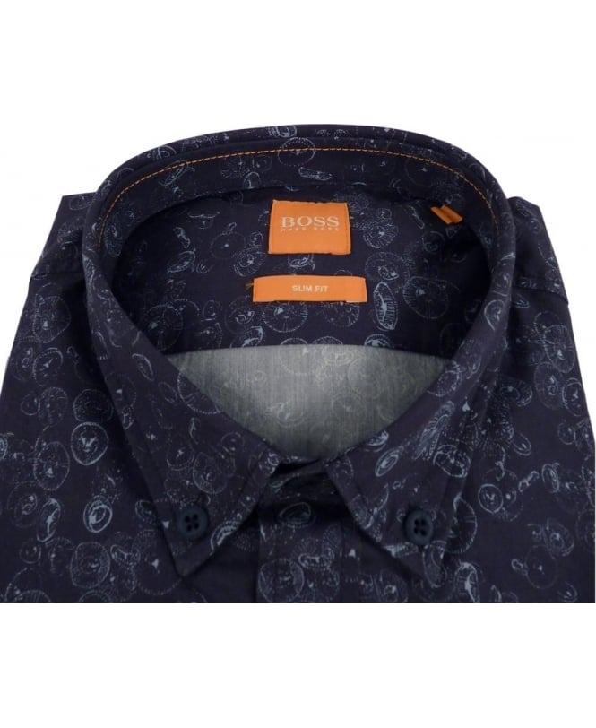 48b37679 Boss 'EdipoE' Patterned Slim Fit Shirt In Dark Blue - Shirts from ...