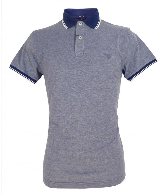 Gant Indigo Blue 222107 Oxford Pique Solid Collar Polo