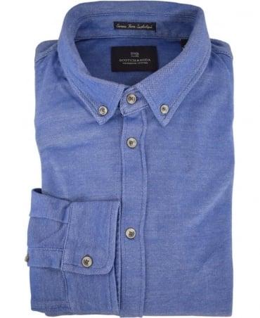 Scotch & Soda Indigo Pique 136330 Long Sleeve Shirt