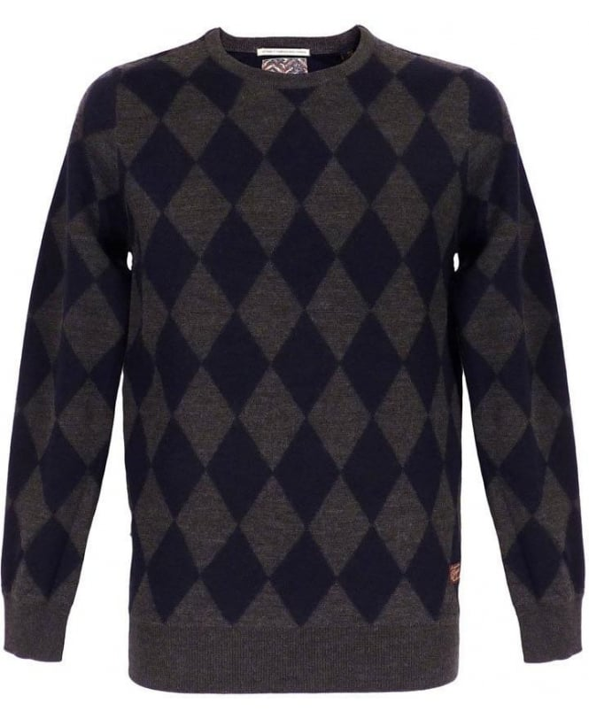 Scotch & Soda Intarsia Grey & Blue Diamond Pattern Knitwear