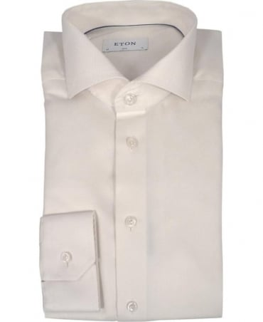 Eton Shirts Ivory Textured Twill Shirt