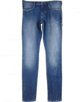 Armani Jeans J06 Slim Fit Distressed Jeans In Light Blue