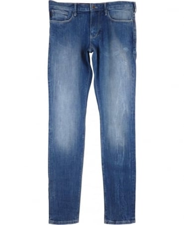 Armani J06 Slim Fit Distressed Jeans In Light Blue
