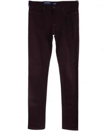 Armani J06 Slim Fit Jeans In Burgundy