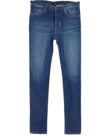 Armani J21 Regular Fit Jeans In Mid Blue