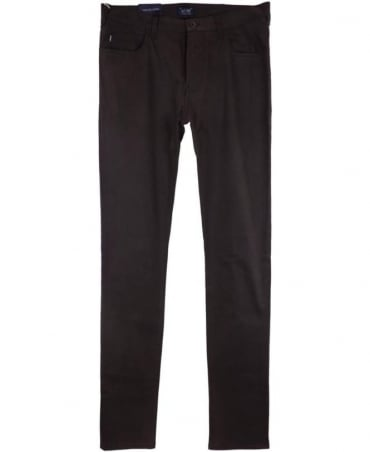Armani J45 Slim Fit Cotton Jeans In Brown