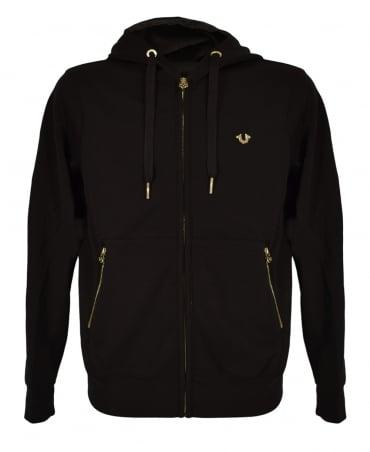 True Religion Jet Black Hooded Zip Sweatshirt