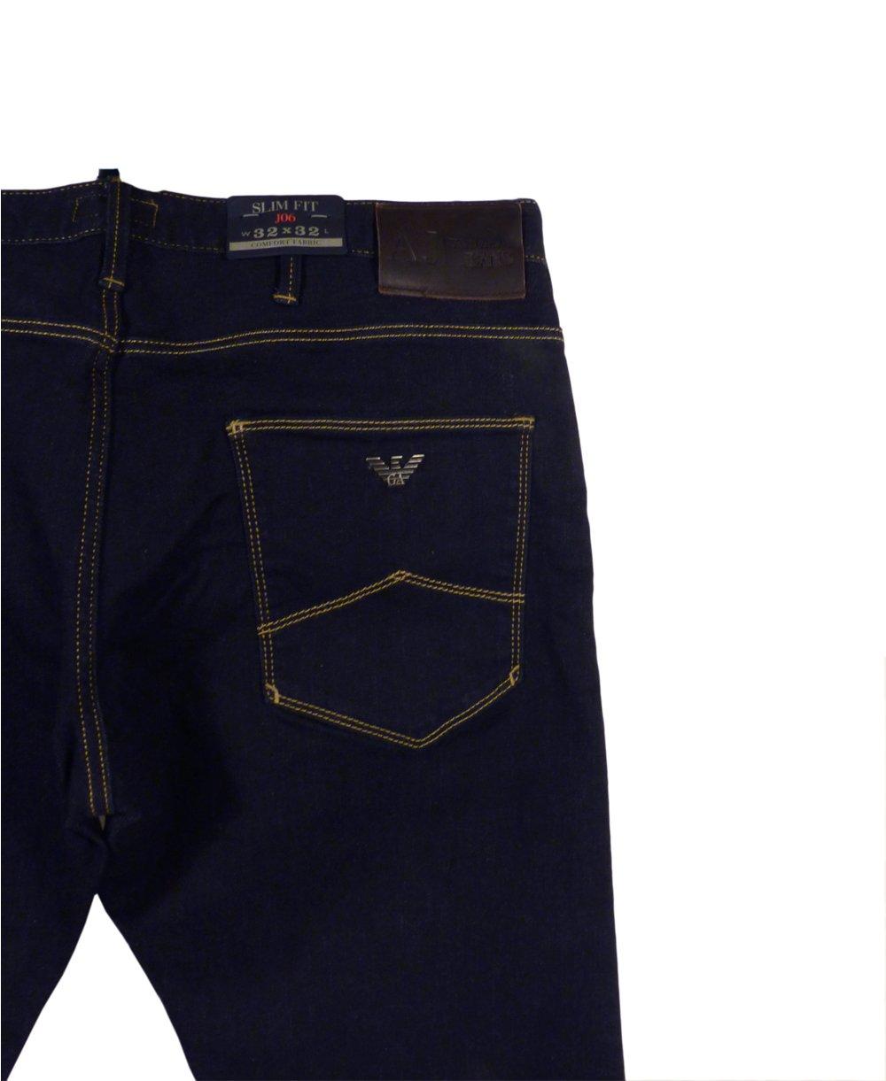 armani jeans jo6 slim fit jeans in dark blue armani. Black Bedroom Furniture Sets. Home Design Ideas
