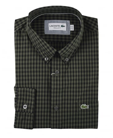 Khaki And Black Check Sax Regular Fit Shirt