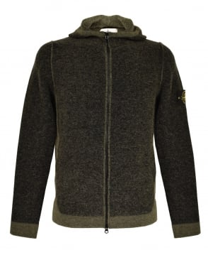 Stone Island Khaki Charcoal 511B1 Knitted Hooded Jumper