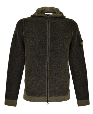 Khaki Charcoal 511B1 Knitted Hooded Jumper