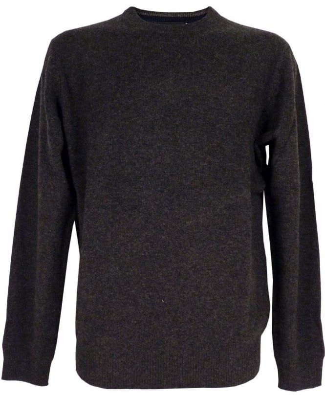Hackett Lambswool Crew Jumper In Charcoal