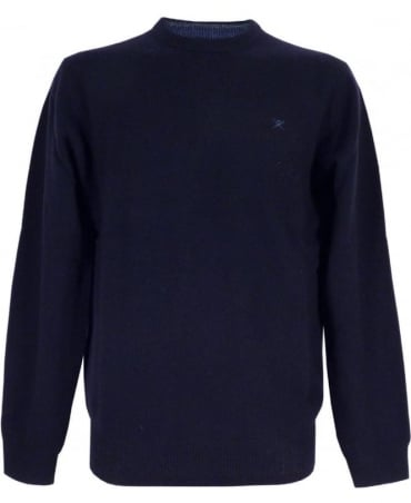 Hackett Lambswool Crew Jumper In Navy