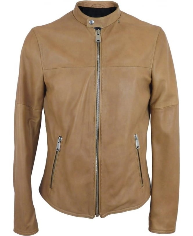 b41d595159d8 Replay Leather Biker jacket In Light Tan - Leather from Jonathan ...
