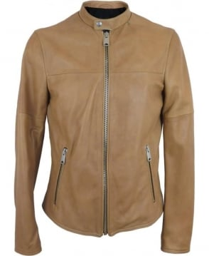 Replay Leather Biker jacket In Light Tan