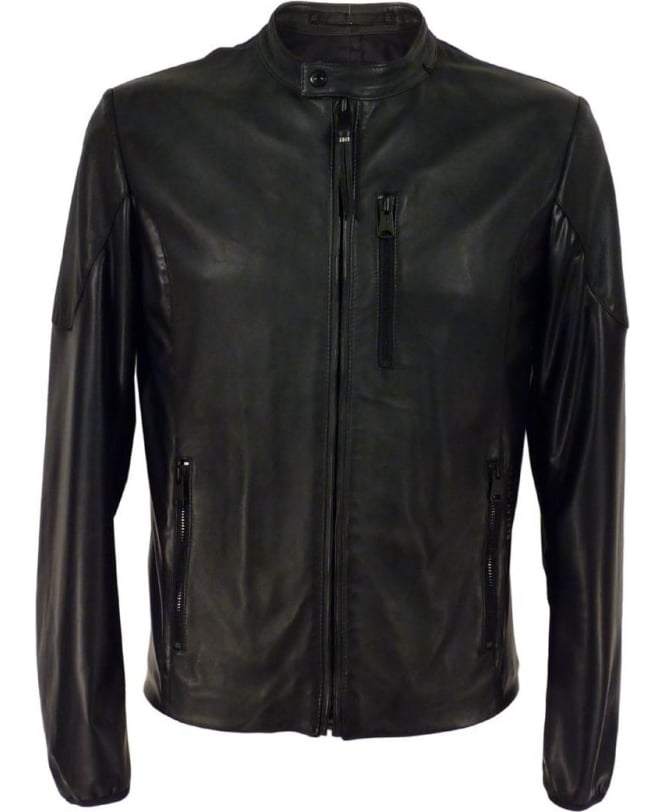Replay Leather Jacket With Shiny Inserts In Black