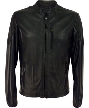 Leather Jacket With Shiny Inserts In Black