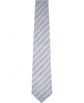 Paul Smith  Light Blue And White Striped Tie