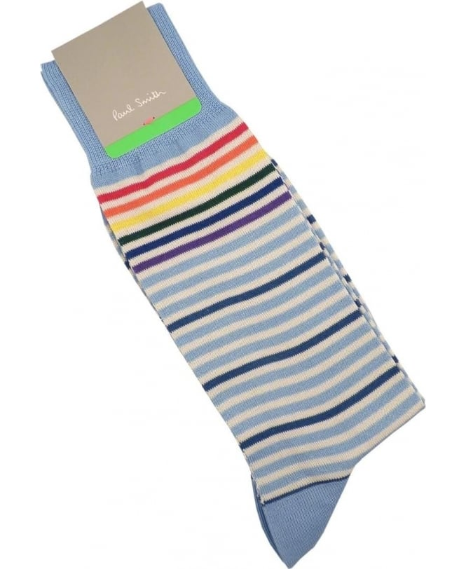 Paul Smith - Accessories Light Blue APXA-800E-K138 PS Fine Stripe Socks