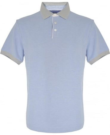 Light Blue Contrasting Collar Polo Shirt